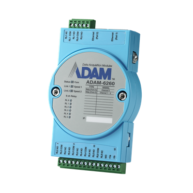 Advantech ADAM-6260 - 6xRelay IoT Modbus/SNMP/MQTT Dual Port Ethernet Remote I/O Module
